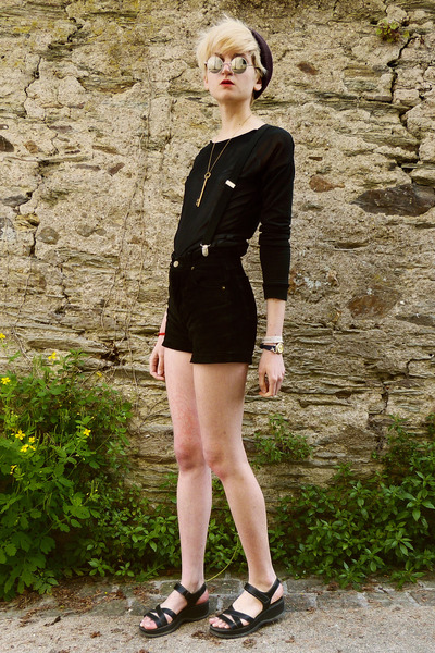 black sheer Quirky ME sweater - black suede thrifted shorts
