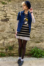 Navy-striped-zara-t-shirt-white-stripes-h-m-dress-navy-cap-thrifted-hat