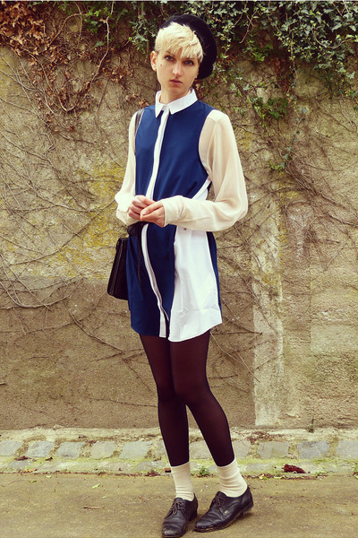 black beret thrifted hat - navy collar MinkPink dress - ivory sheer H&M shirt