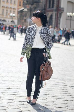 black Zara pants - H&M Trend jacket - ivory vintage shirt