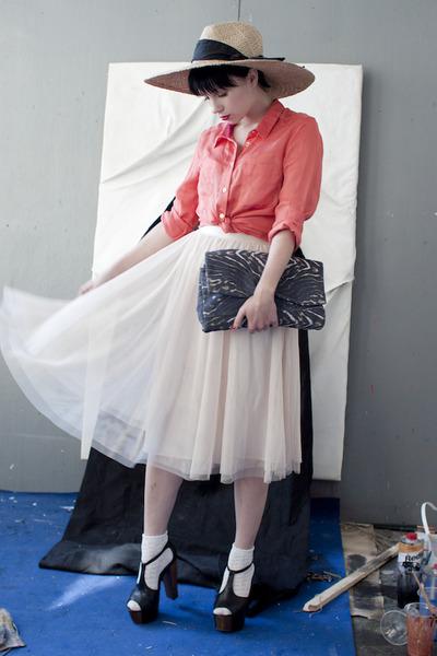 coral H&M shirt - eggshell H&M skirt - black Jessica Simpson heels