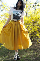 mustard hm skirt - white printed hm t-shirt