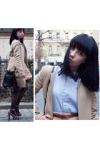 shirt dress American Apparel dress - Zara coat - fringe H&M bag - polkadot H&M h
