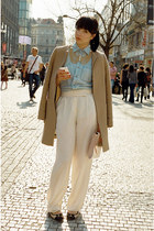 light blue denim American Apparel shirt - tan Zara coat - ivory H&M pants