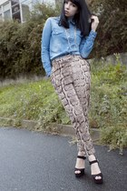 light brown snake print H&M pants - blue denim romwe shirt - black asos heels
