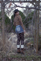 light brown Zara sweater - black H&M tights - blue H&M shorts