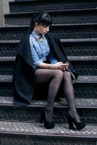 black H&M coat - blue denim romwe shirt - black Aldo heels