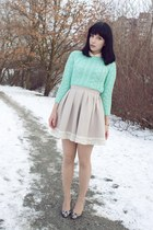 beige H&M skirt - aquamarine cable knit asos sweater