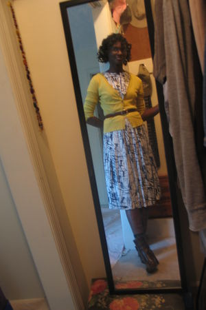 white thrifted dress - brown Walmart boots - gold New York & Company cardigan -