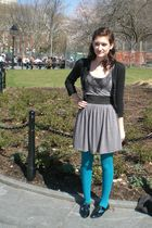 blue Worthington tights - gray dress - black behnaz sarafpour for Target cardiga