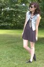 Black-forever-21-dress-blue-gap-vest-black-basic-editions-shoes-silver-mix