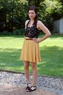 Black-feather-print-top-yellow-forever-21-skirt-dark-brown-beaded-necklace