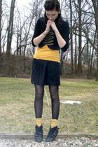 black altered Old Navy skirt - black buckle ankle Aldo boots