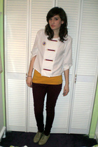 white vintage blouse - red Forever 21 jeans - yellow top - beige vintage shoes -