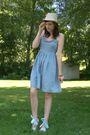 Blue-dress-blue-shoes-beige-hat-brown-bracelet