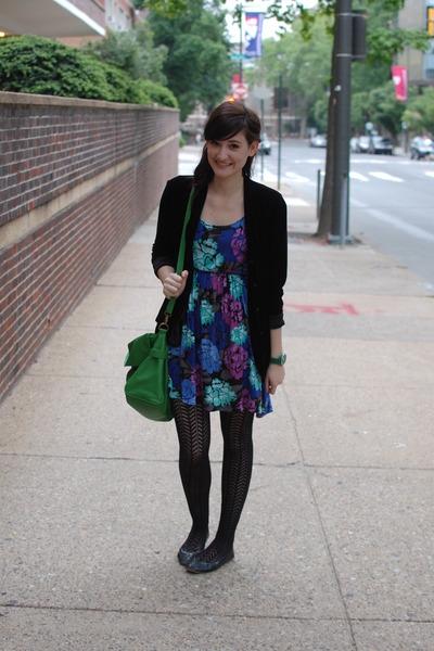 c5e30dbcfb2 blue floral Forever21 dress - black velvet jacket - black patterned tights  - gre
