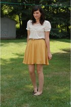 mustard Forever21 skirt - brown leopard print American Eagle flats