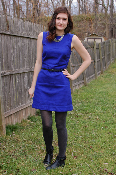 Blue leather dress boots