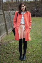 salmon Target coat - black asos boots - dark gray madewell bag