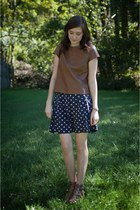navy polka dot JCrew skirt - dark brown satchel madewell bag