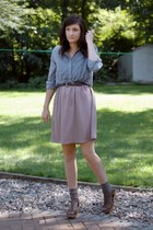 light blue Gap blouse - charcoal gray merona socks - neutral Love 21 skirt
