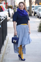 blue angora blend JCrew scarf - yellow HUE tights