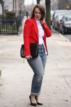 red Zara blazer - periwinkle boyfriend jeans - white collar Zara top