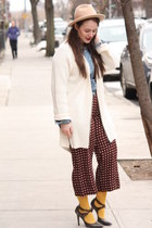 brick red printed Zara pants - tan wool Aldo hat - periwinkle denim Zara shirt