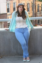 camel Anthropologie hat - sky blue Zara jeans - ivory free people top