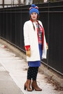 Red-zara-blazer-brown-lace-up-boots-white-zara-coat