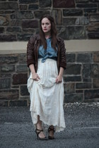 denim Zara shirt - leather bomber Nordstrom jacket - heels