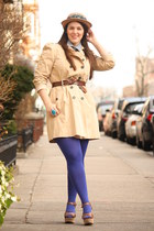 camel wool Anthropologie hat - tan trench Zara coat - periwinkle cotton shirt