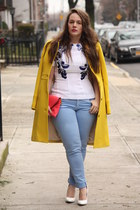 yellow wool JCrew coat - sky blue skinny Zara jeans - coral leather JCrew bag