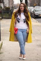 yellow wool JCrew coat - sky blue skinny Zara jeans - coral leather JCrew bag