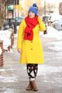 Brown-lace-up-boots-yellow-wool-blend-j-crew-coat-blue-beanie-jcrew-hat