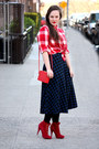 Ruby-red-suede-steve-madden-boots-red-checkered-madewell-shirt