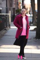 hot pink Topshop heels - magenta wool coat - bubble gum Topshop jumper
