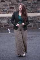dark green wool tweed Zara blazer - heather gray ankle boots