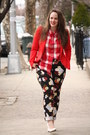 Black-floral-h-m-pants-red-zara-blazer-ruby-red-checkered-madewell-shirt