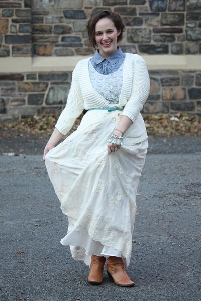 aquamarine hand beaded top - tawny boots - periwinkle shirt
