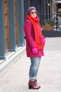 Magenta-wool-blend-coat-maroon-lace-up-topshop-boots