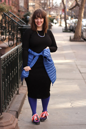 black bodycon Zara dress - blue puffy Uniqlo jacket