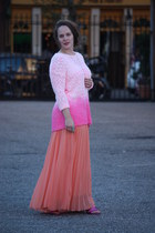 hot pink white Topshop sweater - salmon pleated skirt - hot pink glitter heels