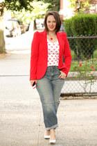 red Zara blazer - periwinkle boyfriend jeans - red Zara shirt