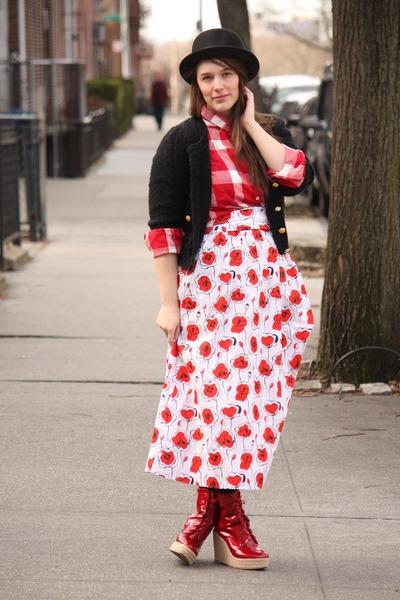red checkered JCrew shirt - black wool bowler Nordstrom hat