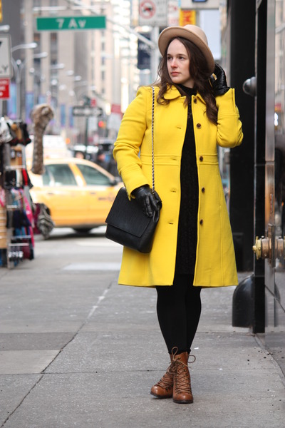 yellow wool blend JCrew coat - brown lace-up boots - black lace Zara dress