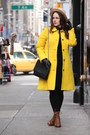 Brown-lace-up-boots-black-lace-zara-dress-yellow-wool-blend-jcrew-coat