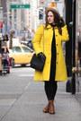 Brown-lace-up-boots-black-lace-zara-dress-yellow-wool-blend-jcrew-coat