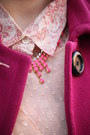 Salmon-leather-jcrew-bag-peach-chiffon-zara-dress-maroon-wool-jacket