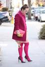 Salmon-leather-jcrew-bag-peach-chiffon-zara-dress-maroon-wool-jacket